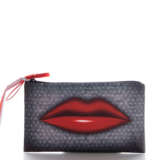 red lips red lips grey bag ziziztime cosmetic bag cosmetic case