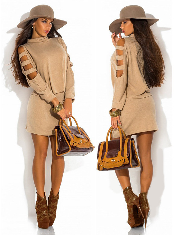 Dress Beige Fall Outfits Urban Cute Pretty Sexy Streetstyle Grunge Hipster Instagram