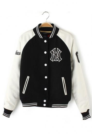 Leather Sleeve Block Baseball Jacket