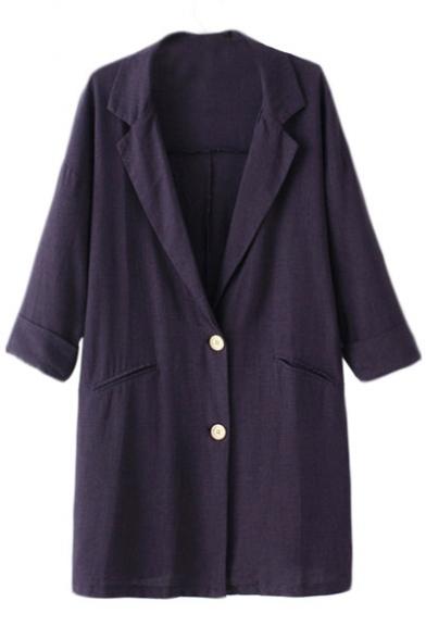 Plain notched collar cuffed sleeve button long blazer