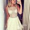 White round neck rhinestone short homecoming dresses, prom dresses - 24prom