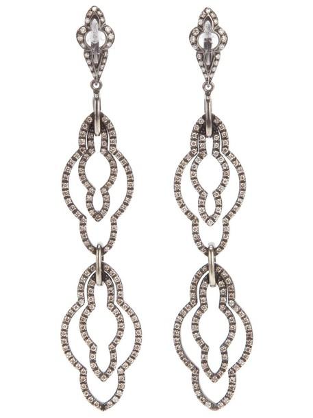 women earrings gold grey metallic jewels