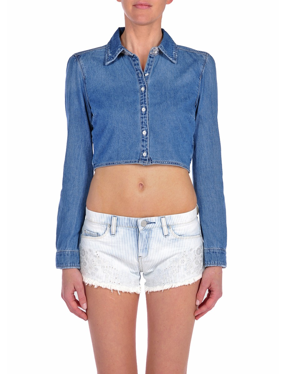 cropped denim shirt pink mascara
