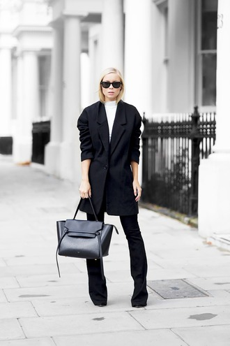 victoria tornegren blogger black coat black pants fall outfits minimalist celine bag designer bag black leather bag office outfits