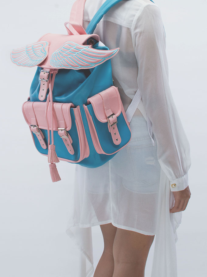 Lucid moxie ? sid pink and blue winged backpack