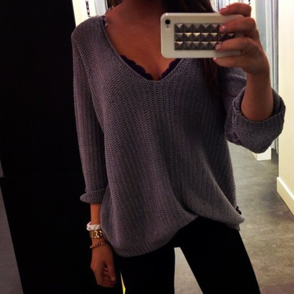 grey weheartit knitted style t-shirt outfit winter outfits fall outfits kardashians party outfits shoes high heels