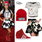 shirt,becky g,beanie,ain't no wifey,stars,adidas,shoes,hat,skirt