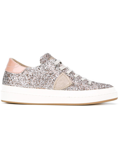 Philippe Model glitter women sneakers lace leather cotton purple pink shoes