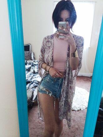 cardigan kimono purple shorts denim shorts