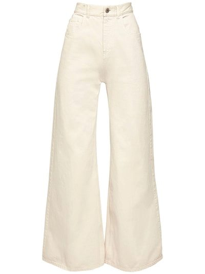 THE ATTICO High Waist Cotton Denim Palazzo Pants Cream