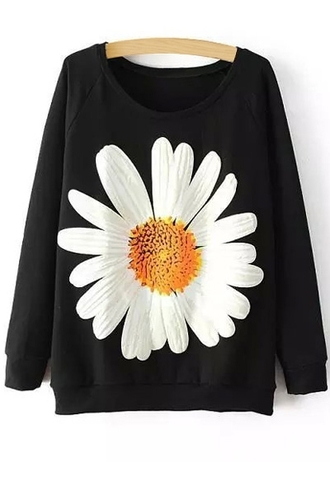 sweater black flowers top fashion style cute girly fall outfits winter outfits daisy sweatshirt