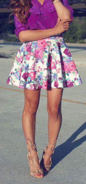 skirt floral floral skirt floral skirt fashion skirt cute skirt summer skirt summer outfits summer style shoes shirt purple floral short skirt blouse