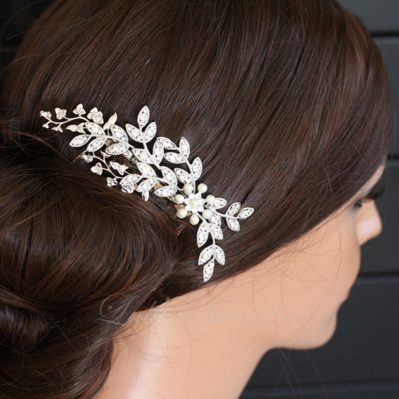 Wedding Hair Accessory Crystal Leaf Comb by LuluSplendor on Etsy