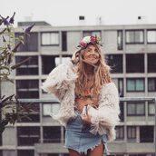 skirt,denim skirt,mini skirt,distressed denim skirt,faux fur jacket,mesh top,embroidered top,flower crown,blogger,blogger style,clutch