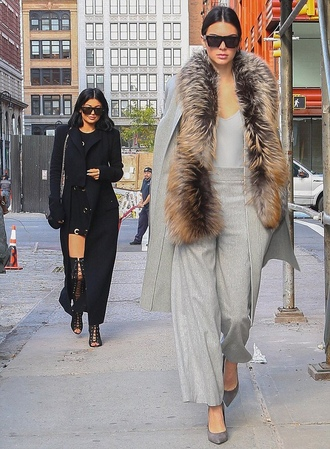 coat top fur kendall and kylie jenner kylie jenner kendall jenner fall outfits pants pumps