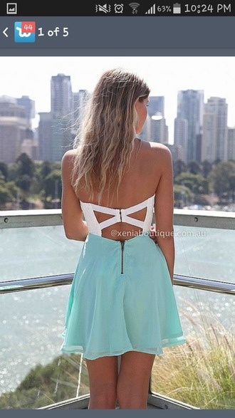 dress blue dress white dress zipper back cross back strapless dresses