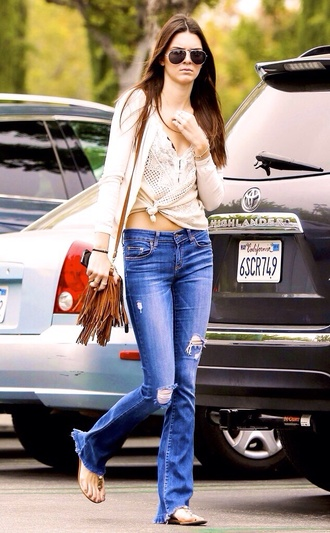 jeans kendall jenner ripped jeans sweater shirt
