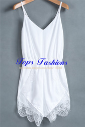 Online Shop 2014 Summer Fashion Rompers Womens Casual Ladies Sexy White Spaghetti Strap Lace Chiffon Jumpsuit|Aliexpress Mobile