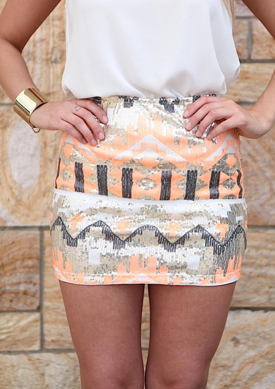 Multi Prints Skirt - Multicolor Sequin Mini Skirt w/ | UsTrendy