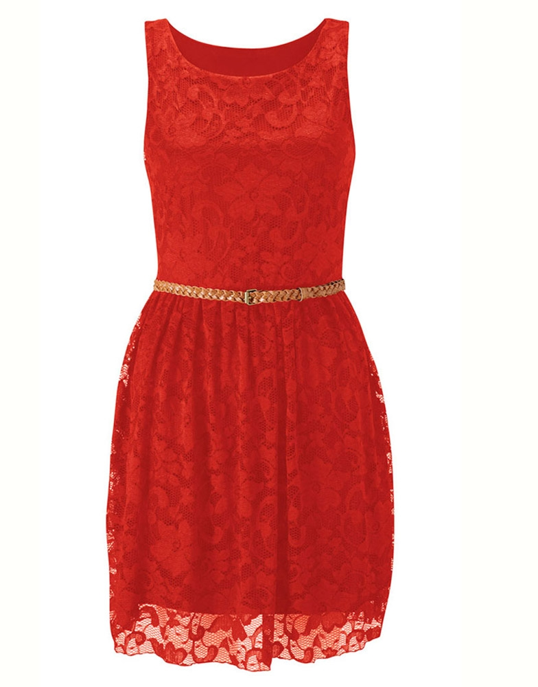 Red Sleeveless Lace Pleat 'Frankie' Dress w Belt