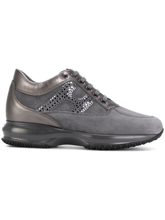 women sneakers lace leather suede grey shoes