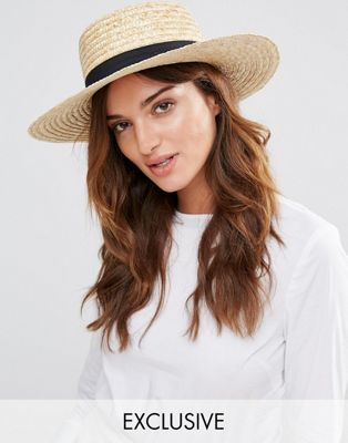 South Beach Straw Boater Hat with Black Band at asos.com