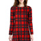 Red plaid print long sleeve round neck casual dress