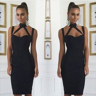 dress mischievous socialite cut-out midi knee length bodycon bandage turtleneck collar high neck sexy