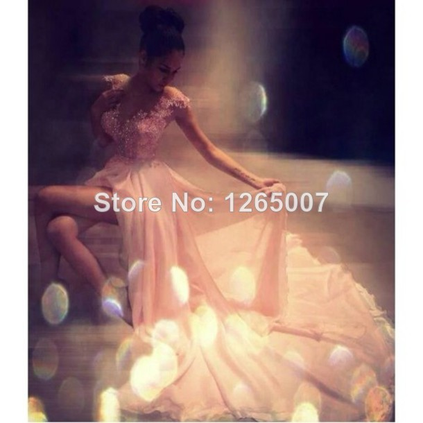 Aliexpress.com : Buy Deep V Neck Appliques Lace Crystal Beaded Rhinestones Sequins Top High Slit Summer Sparkly Glitter Pink Prom Dress Fashion Gowns from Reliable beaded chiffon dress suppliers on SFBridal