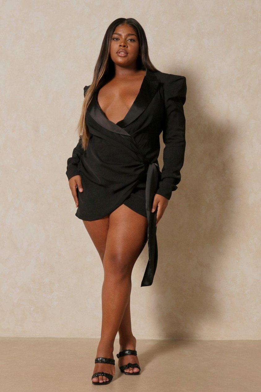 Black Premium Extreme Shoulder Wrap Blazer Dress
