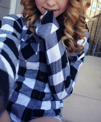 blouse black and white flannel plaid grunge acacia brinley flannel shirt