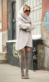 pea coat,knee high boots,grey