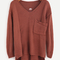 Coffee v neck slit back high low sweater -shein(sheinside)