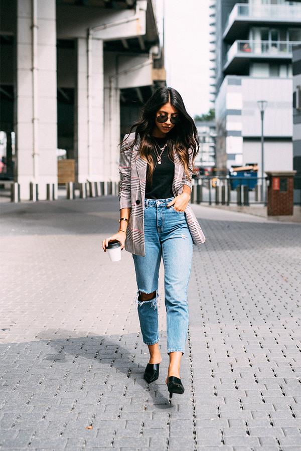 jacket tumblr blazer denim jeans blue jeans ripped jeans top black top shoes black shoes mules sunglasses t-shirt