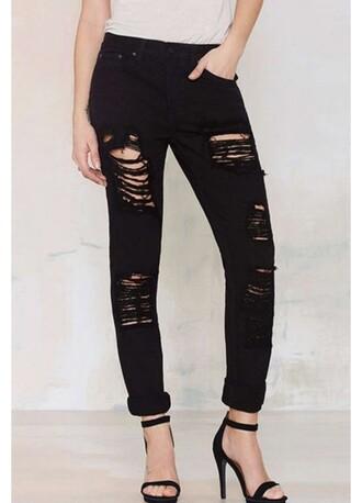 jeans ripped jeans black fashion vibe rose wholesale stylish boyfriend jeans