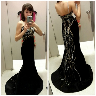 dress prom dress black prom dress gold sequins silver sequins strapless dress