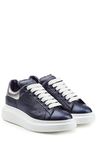 metallic sneakers leather blue shoes