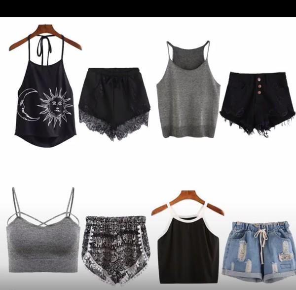 shirt black tumblr outfit shorts crop tops tank top denim shorts black shorts mini shorts