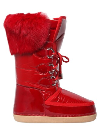 snow boots fur snow boots leather red shoes