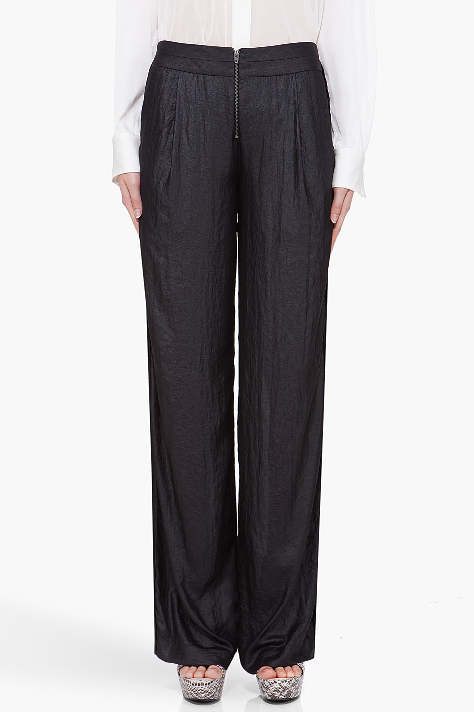 under.ligne black wide leg pants