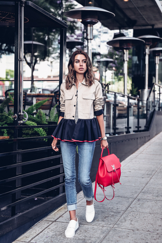 vivaluxury - fashion blog by annabelle fleur: nyfw mini moment blogger jacket shoes t-shirt jewels backpack slip on shoes spring outfits red bag