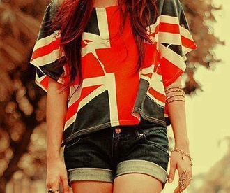 shirt shorts blue clothes flag t-shirt london union jack england