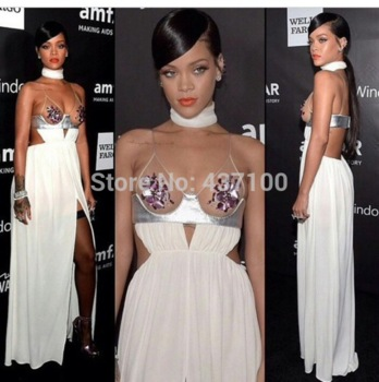 Aliexpress.com : buy fashion style 2014 sexy v neckline slit open back chiffon white long prom dress rihanna celebrity red carpet dres to party from reliable carpet diy suppliers on suzhou lovestory dress store