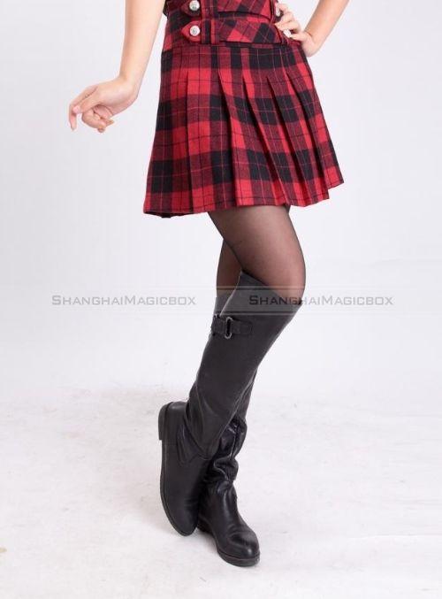 Shanghaimagicbox new fashion women wool blend plaid pleated skirt 4 colors s xl wskt256