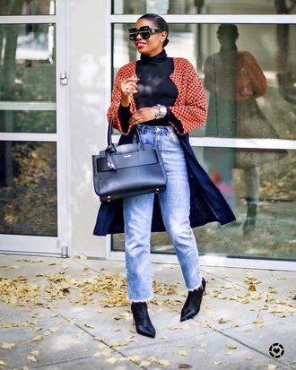 shoes tumblr boots black boots denim jeans light blue jeans top black top turtleneck black turtleneck top coat bag black bag sunglasses