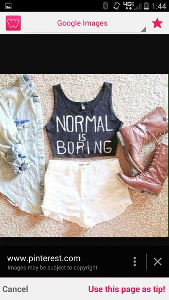 t-shirt crop tops normal is boring combat boots white lace shorts shorts brown combat boots denim shirt blouse