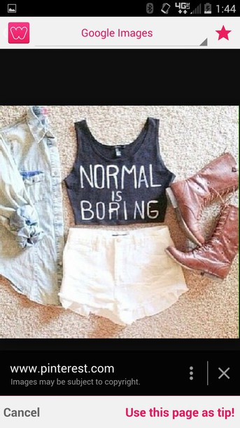 t-shirt crop tops normal is boring combat boots white lace shorts shorts brown combat boots denim shirt blouse top tank top