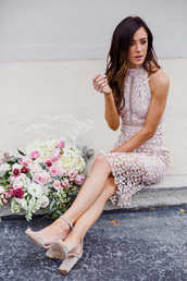 dress,tumblr,midi dress,lilac,halter neck,halter dress,halter neck dress,lace dress,sandals,sandal heels,high heel sandals,grey sandals,flowers,spring outfits