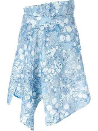 skirt draped skirt draped floral print blue