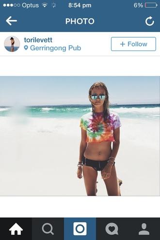shirt rainbow tie dye beach crop tops